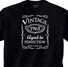 "50th BIRTHDAY Black T-Shirt WESTERN Style ""Vintage 1965"" 50 Year BDay"