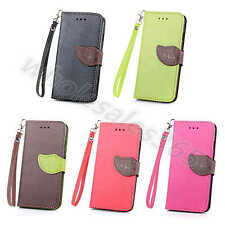 Lovely Leaf Wallet Card Stand Leather Book Case Cover Skin For Smart Phone+Strap