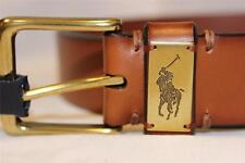 Polo Ralph Lauren Men's Genuine leather Signature Logo Tan Casual Belt NWT $75