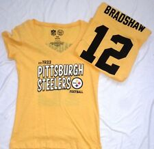 Pittsburgh Steelers Football Ladies Throwback Bradshaw SS V-Neck Yellow New