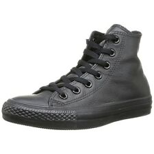 Converse Mens Shoes Chuck Taylor High Top 1T405 Black Leather Sneakers