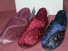 Ladies wide fitting Vecro fastening Washable slippers sizes 3-8