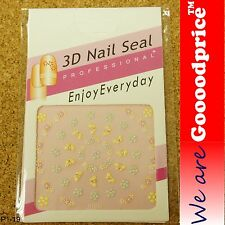 3D Nail Art Seal Beautiful Flowers Nail/Toe Stickers Pack Party&Ladies Gift 1-19