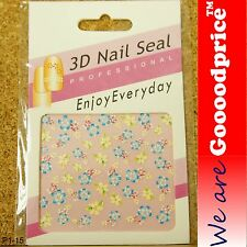 3D Nail Art Seal Beautiful Flowers Nail/Toe Stickers Pack Party&Ladies Gift 1-15