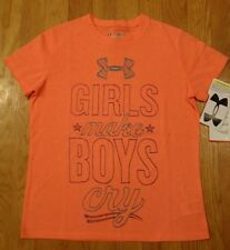 NWT UNDER ARMOUR SHORT SLEEVE SHIRT GIRLS LARGE ELECTRIC TANGERINE LOOSE FIT