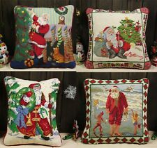 Beautiful Handmade Stitched Needlepoint  Pillow Cushion Christmas Design #1