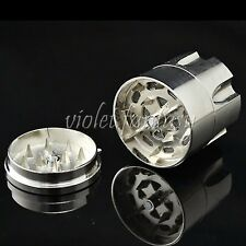 Alloy Grinding Device Silver 4 PART Aluminum Herb Spice Grinder Crusher Mill New