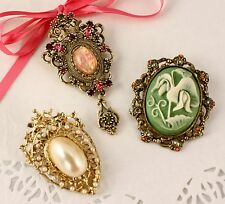 3 Chunky Pins - SARAH COVENTRY Contessa - Vintage Jewelry Brooch/Pendant Lot
