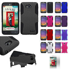 LG Ultimate 2 L41C Hybrid Perforated Hard Plastic+Soft Silicone Case Cover+Film