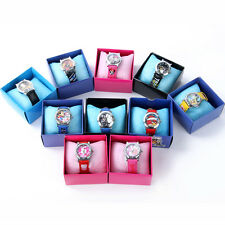 Lovely Cartoon Wristwatch Child Kid Analog Quartz Watch Leather Band Boys Girls