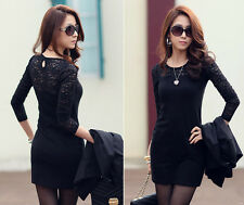 Fashion Womens Casual Lace Long Sleeve Blouse Evening Party Mini Dress Clubwear