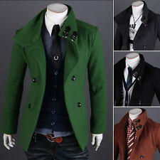 Cool Mens Warm Peacoat Double Breasted Coat Winter Long Jacket Outercoat Black