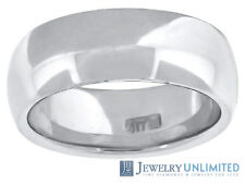 10K White Gold Mens Ladies Comfort Fit Wedding Engagement Ring Band 7mm Size6-13
