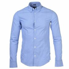 Armani Jeans blue micro gingham check fitted long sleeve shirt