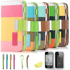 For Apple iPhone 4S 4 Magnetic Flip Hard Case Cover PU Leather Pouch Wallet
