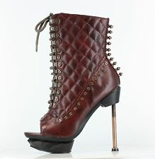 HADES IXX Burgundy Steampunk Spikes Alternative Footwear Victorian Granny Boots