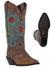 "NEW LAREDO BOOTS Women's MISS KATE 11"" Brown n Teal Leather Western Cowboy NIB"