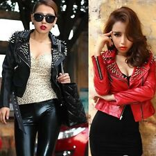 Womens Rock Punk Rivets Studded Blazer Coat faux  Leather Moto short Jacket