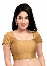 Elegant Gold Ready-Made Silk Saree Blouse Sari Top