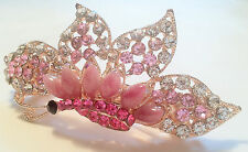 Hair Barrette with Dragonfly and Floral Design in Rhinestones