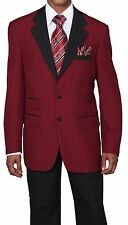 Men's 2pc Poplin Dacron Two Button Fashion Suit 7022 Solid Burgundy/Black