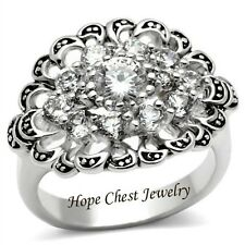 WOMEN'S VICTORIAN STYLE CLUSTER FLOWER CUBIC ZIRCONIA FASHION RING SIZE 5, 6, 7