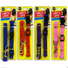 Dog Puppy Pet Collar And Lead Leash Set Nylon Adjustable 4 Different Colours New