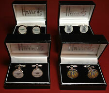 CAR COMPANY SILVER & GOLD  PLATED CUFF LINKS IN HARRODS DISPLAY CASE