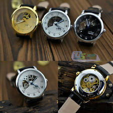 Brand New Hand Winding Mechanical Black Leather Strap Roman Mens Watch 3 Colors