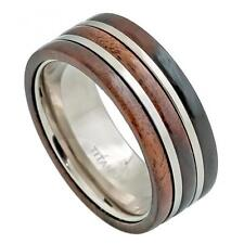 Titanium Engagement Ring 9MM Pipe-cut with Hawaiian Koa Wood Inlay Size 8-12