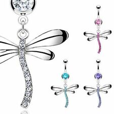 316 Surgical Steel CZ Gem Dangle Dragonfly Belly Bar / Navel Ring UK Seller
