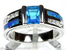 Hot!! London Blue Topaz & Blue Fire Opal Inlay 925 Sterling Silver Ring Sz 7,8,9