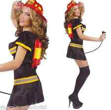 Ladies Sexy Fireman Firefighter + Drinks Dispenser Fancy Dress Costume Outfit