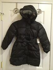 NWT Old Navy Girl Long Belted Puffer Jacket Coat Fur Hood BLACK XS 5 Small 6 7