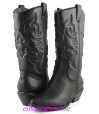 Black Awesome Embossed Stitch Detail Western Cowboy Cowgirl Boots