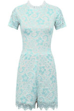 Ladies Womens Fashion Lace Mint White Playsuit Open Back Collar Size 8-14