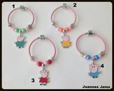 PEPPA PIG BRACELETS, CHOICE OF CHARM & SAME DAY POSTAGE - HAND CRAFTED