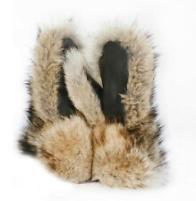 MEN NATURAL COYOTE FUR MITTENS LEATHER TRIM ALL SIZES