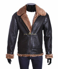 Mens B3 Classic Ginger / Brown Shearling Sheepskin Aviator Bomber Leather Jacket