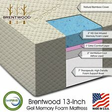 "Brentwood Home 13"" Gel Memory Foam Mattress, 4-Layer, 100% USA, CertiPUR, QUEEN"