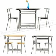 SMALL SPACE Wooden Breakfast Kitchen Bar Table with 2 Chairs Dining Set 3 pcs