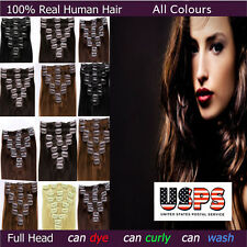 100% Real Good AAA Clip In Remy Human Hair Extensions Full Head TANGLE FREE F499