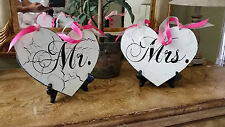 Heart Mr and Mrs chair signs, wedding signs, Bride Groom...