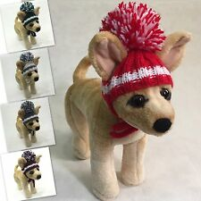 Handmade Knit Clothes Pompom Hat with Ties for Dogs / Pets Size XXS, XS, S