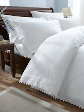 Embroidered Balmoral Percale 180 Tread Count Duvet Cover & Pillowcase, White