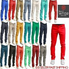 WT02 New York MEN Skinny Stretch Pants Jeans SKINNY JEAN 19 COLORS BLACK KHAKI