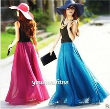 Women's Beach Bohemia 2 Layer Retro Maxi Dress Elastic Waist Pleated Long Skirt