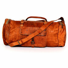 New Brown Real Leather Vintage Weekend Gym Athletic Duffle Bag