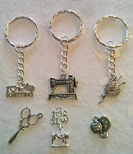 Sewing keyrings~bronze~tibetan silver~seamstress~sewing machine~knitting keyrig