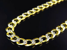 "Real 10K Yellow Gold Solid Diamond Cut Cuban Link Chain Necklace 18-30"" (5.5MM)"